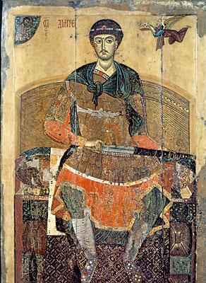 Икона святого Дмитрия Солунского происходит из Успенского собора города Дмитрова. Возможно, что она была пожертвована князем Всеволодом Большое Гнездо в город Дмитров, основанный в 1154 г. в честь его рождения.